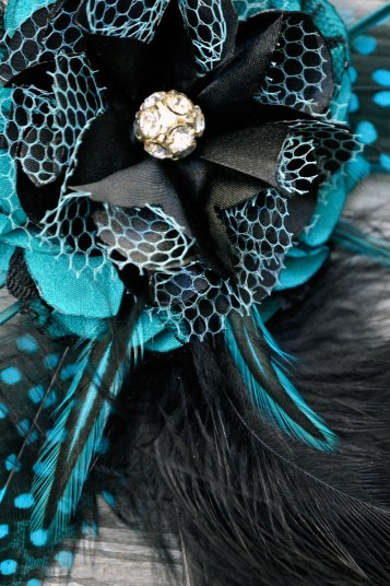 Teal Feather Handcrafted Leather n Lace Fascinators by Catfight Craft